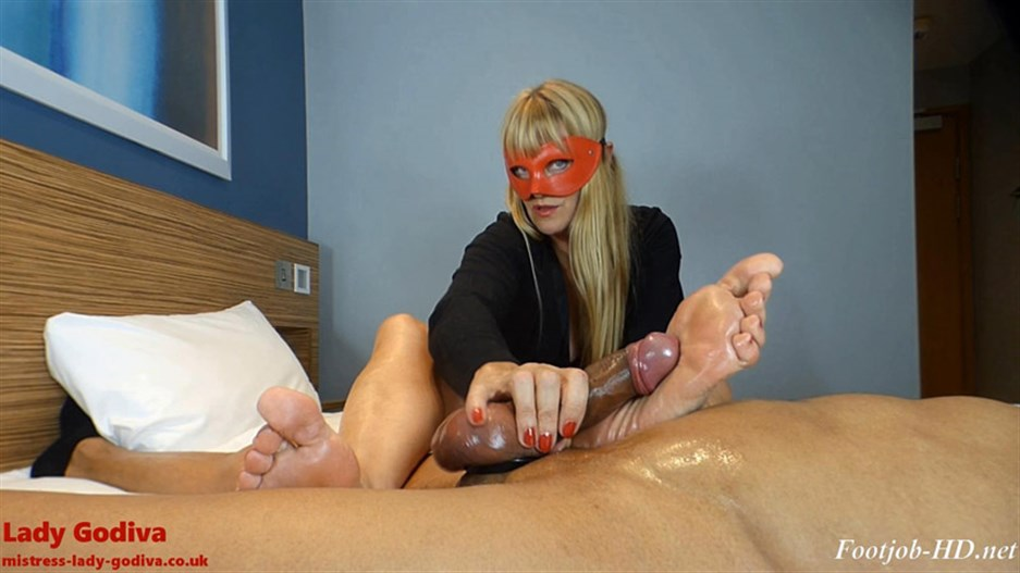 Lady Godiva plays with real cock, foot slapping it to orgasm – Lady Godiva Foot Fetish